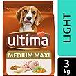 Comida para perro de talla mediana maxi de más de 10 kilogr a base de croquetas light última Affinity 3 kg Ultima Affinity