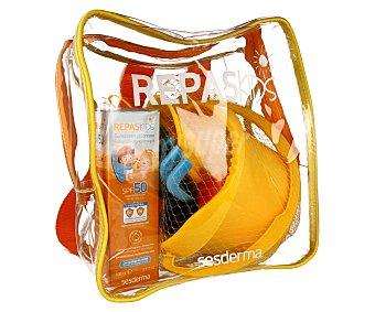Sesderma Mochila con protector solar especial para niños con factor de protección 50 100 mililitros + cubo con pala y rastrillo de regalo