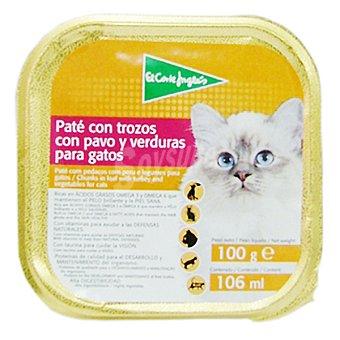 El Corte Inglés Paté con trozos con pavo y verduras para gato Tarrina 100 g