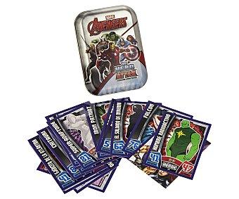 Marvel Lata de cartas Los Vengadores, Avengers, incluye 21 cartas normales, 1 guía de juego, 1 carta brillante espejada y1 carta limitada 1 unidad
