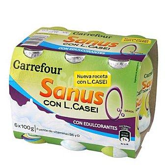 Carrefour Yogur líquido Sanus natural 0% + l.casei Pack 6x100 g