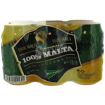 El Corte Inglés Cerveza rubia 100% Malta pack 6 latas 33 cl Pack 6 latas 33 cl
