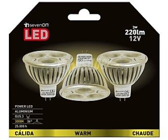 SEVENON Focos led dicroicos 3 Watios , casquillo GU10, luz cálida 3 unidades