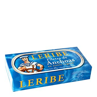 Leribe Filetes de anchoa en aceite vegetal 22 g