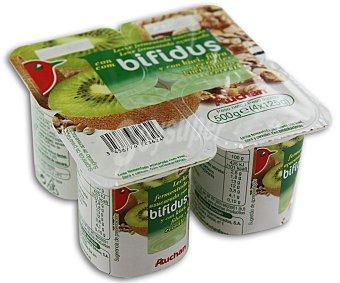 Auchan Yogur sin grasas con bifidus, kiwi, fibra y cereales (leche fermentada azucarada con kiwi, fibra, cereales y bifidobacterias.) Pack de 4 unidades 125 gramos