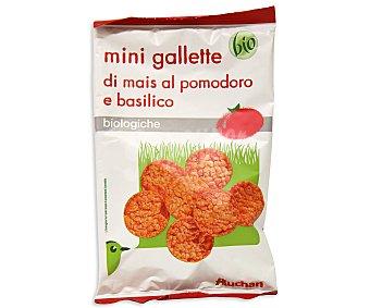 Auchan Mini tortitas de maíz al tomate y a la albahaca ecológicas 50 Gramos