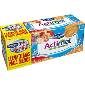 Danone Actimel Yogur líquido fresa-plátano pack 6 unidades + sabor galleta pack 6 unidades 100 ml Pack 6 unidades