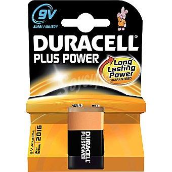 DURACELL PLUS Power pila alcalina 9 V (alr61 - mn1604) 9 voltios blister 1 unidad 1 unidad