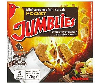 JUMBLIES de AUCHAN Mini Cereales de Chocolate y Avellana 5 Bolsitas 175 Gramos