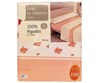 Auchan Juego de sábanas para cama de 105 centímetros, estampado con flores en tonos rosas, modelo Barbara 1 unidad.