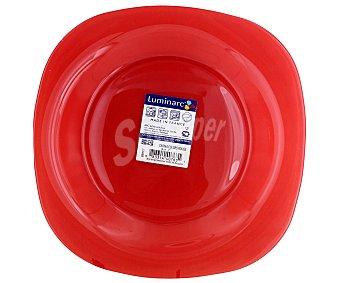 LUMINARC Plato de postre modelo Carina Colors de 18 centímetros, fabricado en vidrio templado de color rojo y diseño cuadrado con bordes redondeados 1 Unidad
