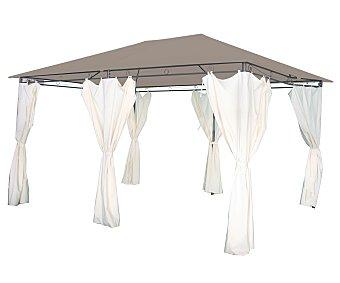 GARDEN STAR Cenador fabricado con estructura tubular de acero gris, cubierta de textileno beige, 6 cortinas laterales blancas y medidas: 3x4x2.7 metros 1 unidad