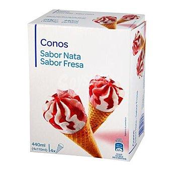 Carrefour Conos de fresa y nata 4 ud
