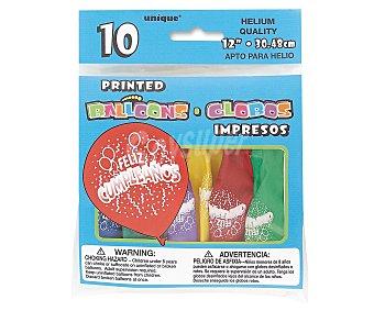 UNIQUE Globos de colores surtidos con Feliz Cumpleaños impreso, 12 pulgadas, 30 centímetros 10 unidades
