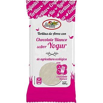 EL GRANERO tortitas de arroz con chocolate blanco sabor yogur ecológicas  envase 100 g