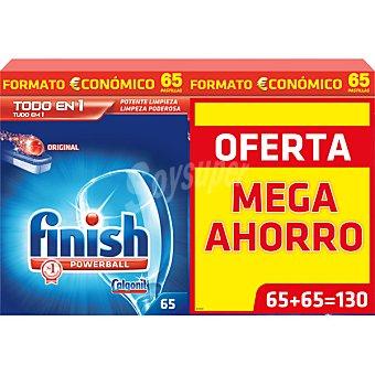 Finish Detergente lavavajillas Power Ball todo en 1 pack 2 caja 65 pastillas Pack 2 caja 65 pastillas