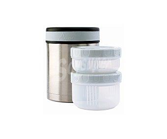 LAKEN Termo para alimentos con capacidad de 1 litro, fabricado en acero inoxidable 18/8 y con 2 contenedores herméticos, incluye funda 1 unidad