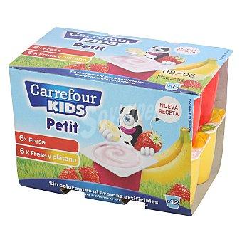 Carrefour Kids Petit de fresa y plátano Pack de 12 unidades de 50 g