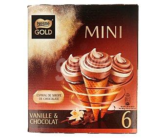 Gold Mini conos de vainilla y chocolate con espiral de sirope de chocolate 6 unidades de 85 mililitros