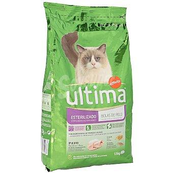 Ultima Affinity Alimento para gatos esterilizados anti bolas de pelo con pavo 1.5 kg