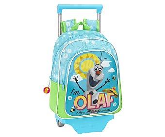 SAFTA Mochila infantil con carro desmontable, asas reforzadas, amplio bolsillo frontal con cierre de cremallera e imagen del simpático muñeco de nieve de la película Frozen, Olaf 1 unidad