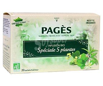 PAGÉS Infusión 5 hierbas de cultivo ecológico 20 sobres de 1,5 gramos
