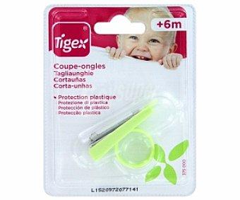 TIGEX Cortaúñas bebé +6 Meses, con protección plástica 1 Unidad