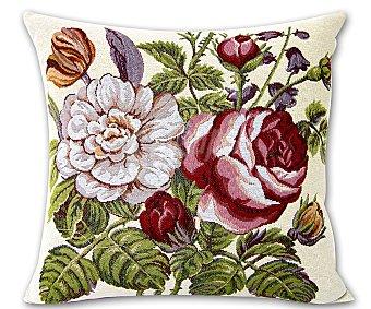 Auchan Cojín de tejido jacquard con estampado floral de rosas y cierre de cremallera, 45x45 centímetros 1 unidad