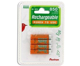 Auchan Pilas recargables AAA ni-mh 850 mah, listas para su uso 4 unidades