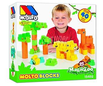 MOLTO Caja de 40 bloques para construir divertidos animales, incluye adhesivos 40 piezas