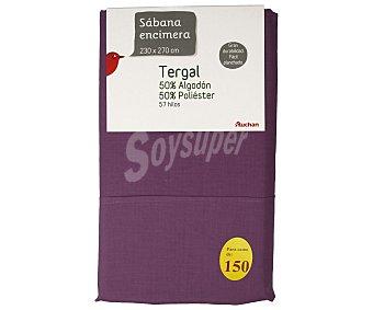 Auchan Sábana de tergal color morado para cama doble, 230x270 centímetros 1 unidad