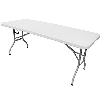 Mesa plegable portátil de resina en color blanco