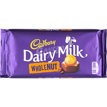 CADBURY Whole Nut Chocolate con leche y avellanas tableta 200 g Tableta 200 g