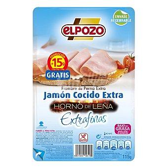 ElPozo Jamón cocido lonchas finas horno de leña 115 g