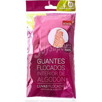 Aliada Guantes flocado rosa talla mediana con el interior de algodón Bolsa 2 unidades