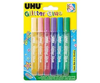 UHU 6 bolígrafos boquilla de precisión, pegamento líquido con purpurina, de varios colores UHU 10 g