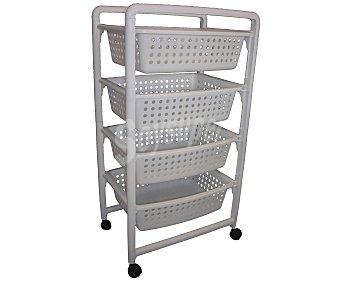 Erce Carrito verdulero multifuncional de plástico color blanco, práctico y resistente, con 4 Cestos Extraibles 44x33x88 centímetros 1 Unidad 1u