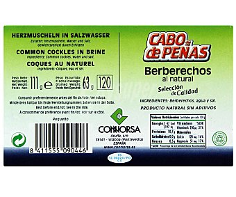 CABO DE PEÑAS Berberechos al natural 63 Gramos