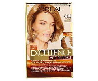 Excellence L'Oréal Paris Age Perfect tinte rubio oscuro radiante nº 6.03 crema color en matices para cabellos maduros y blancos Caja 1 unidad