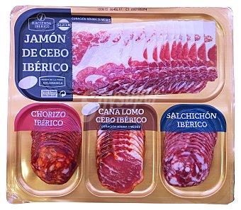 LA HACIENDA Tabla productos ibéricos (jamón de cebo, salchichón, lomo y chorizo lonchas) Paquete de 200 g