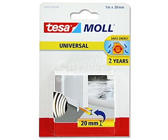 Tesa Burlete de espuma universal de 38 milímetros, de color blanco, 1 metro Moll Moll