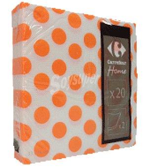 Carrefour 20 servilletas 33X33 cm 2 capas topos naranja carrefour