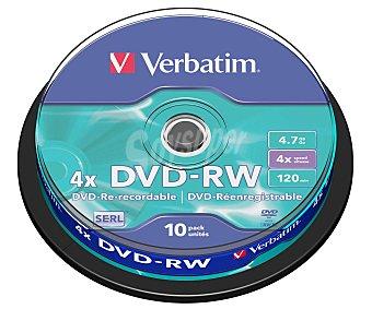 Verbatim Tarrina de 10 dvd-rw 4,7GB 4x verbatim
