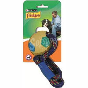 Friskies Purina Juguete pelota de caucho-cuerda Pack 1 unid