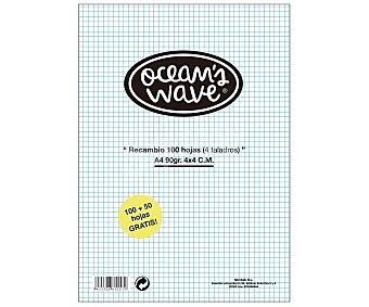 OCEAN´S WAVE Recambio tamaño DIN-A4, con cuadricula de 4x4 milímetros y con 100 hojas de OCEAN´S WAVE 90 gramos