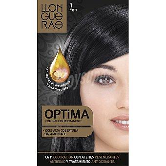 LLONGUERAS tinte Optima negro nº 1 coloración permanente con aceites regenerantes anti-edad  caja 1 unidad