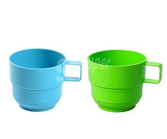 EDA Mug o taza con asa multiusos de 7.8 cm y fabricada en plástico de color verde o azul 1 unidad