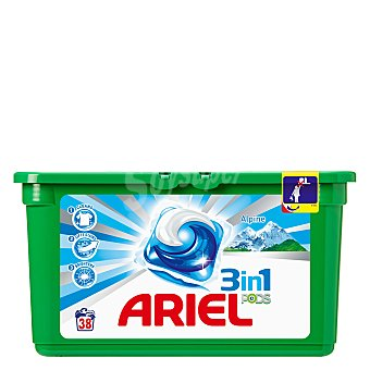 Ariel Detergente 3 en 1 en cápsulas Alpes 38 lavados