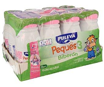 Puleva Leche crecimiento peques 3 biberón desde los 12 a 36 meses del bebé Pack de 12 unidades de 250 mililitros