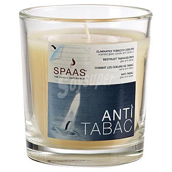 SPAAS Vela Perfumada en vaso de cristal transparente Antitabaco